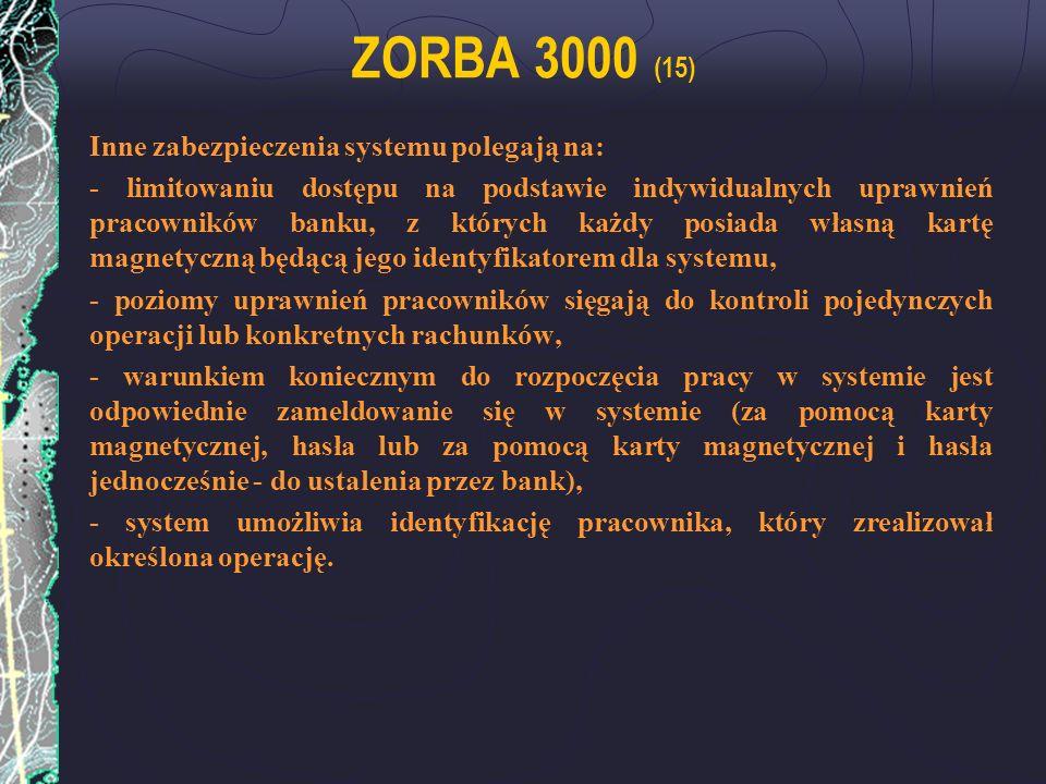 ZORBA 3000 (15) Inne zabezpieczenia systemu polegają na: