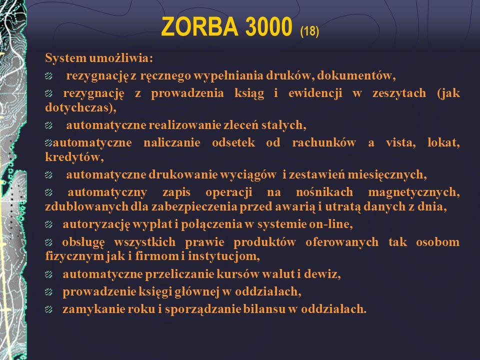 ZORBA 3000 (18) System umożliwia:
