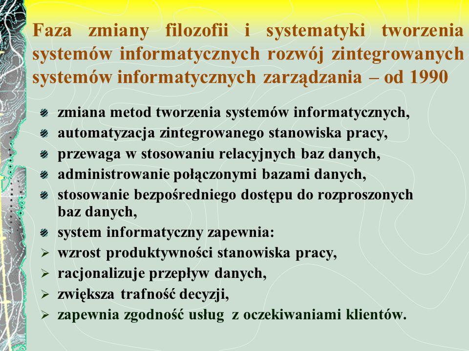 Faza zmiany filozofii i systematyki tworzenia systemów informatycznych rozwój zintegrowanych systemów informatycznych zarządzania – od 1990
