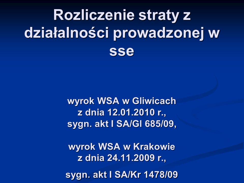 Rozliczenie straty z działalności prowadzonej w sse wyrok WSA w Gliwicach z dnia 12.01.2010 r., sygn.