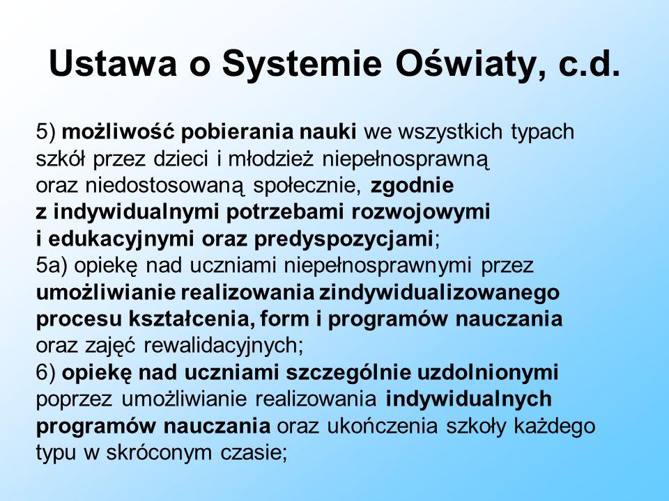 Ustawa o Systemie Oświaty, c.d.