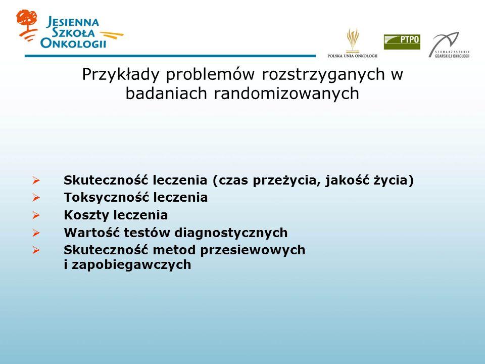 Przykłady problemów rozstrzyganych w badaniach randomizowanych