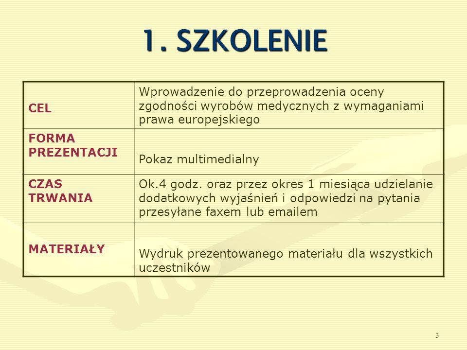 1. SZKOLENIE CEL. Wprowadzenie do przeprowadzenia oceny zgodności wyrobów medycznych z wymaganiami prawa europejskiego.