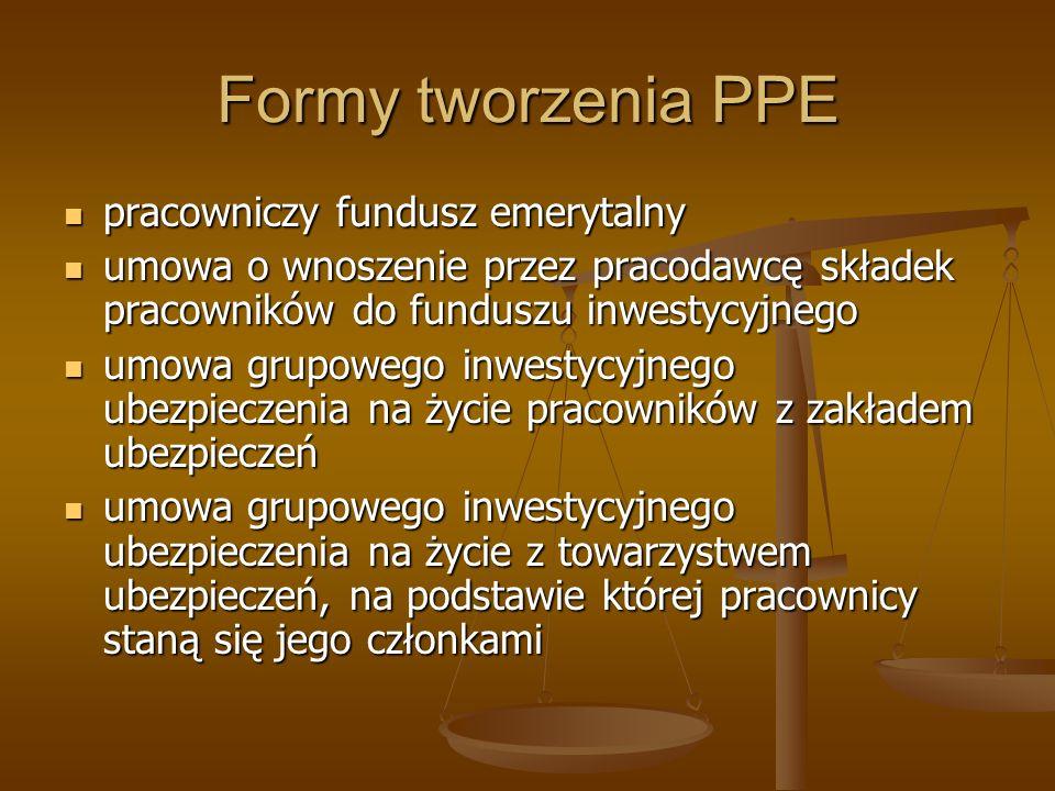 Formy tworzenia PPE pracowniczy fundusz emerytalny