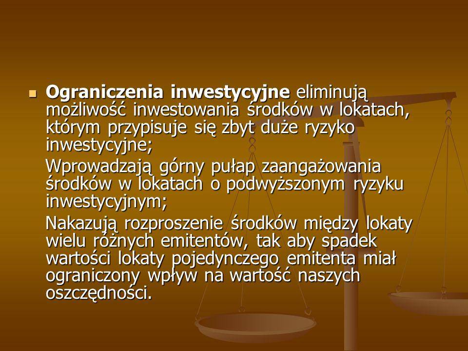 Ograniczenia inwestycyjne eliminują możliwość inwestowania środków w lokatach, którym przypisuje się zbyt duże ryzyko inwestycyjne;