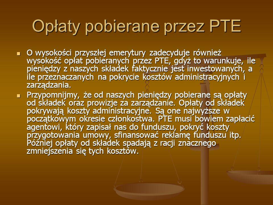 Opłaty pobierane przez PTE