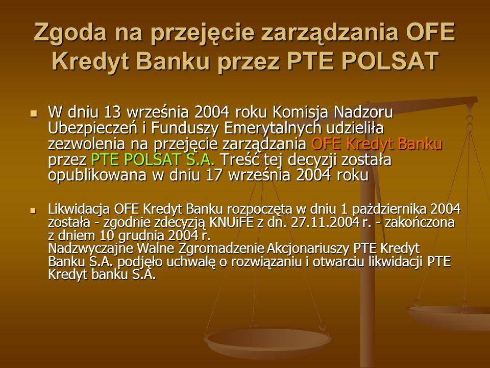Zgoda na przejęcie zarządzania OFE Kredyt Banku przez PTE POLSAT