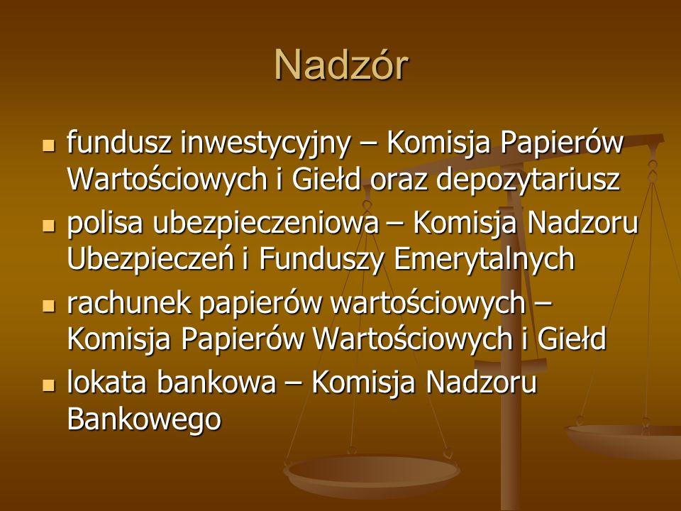 Nadzór fundusz inwestycyjny – Komisja Papierów Wartościowych i Giełd oraz depozytariusz.