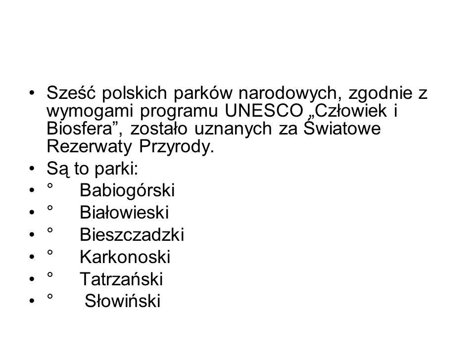 """Sześć polskich parków narodowych, zgodnie z wymogami programu UNESCO """"Człowiek i Biosfera , zostało uznanych za Światowe Rezerwaty Przyrody."""