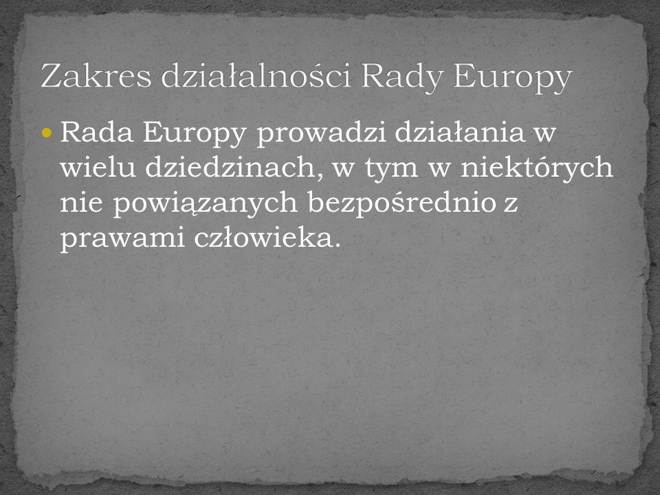 Zakres działalności Rady Europy