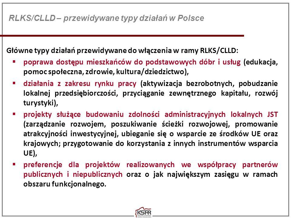 RLKS/CLLD – przewidywane typy działań w Polsce