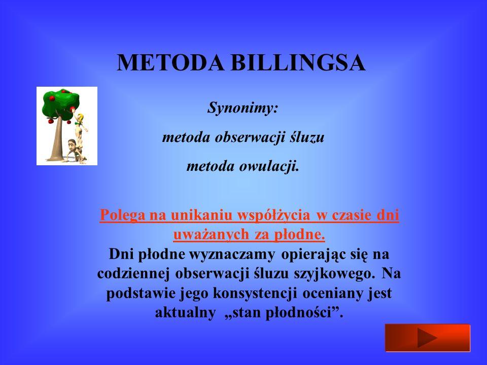 METODA BILLINGSA Synonimy: metoda obserwacji śluzu metoda owulacji.