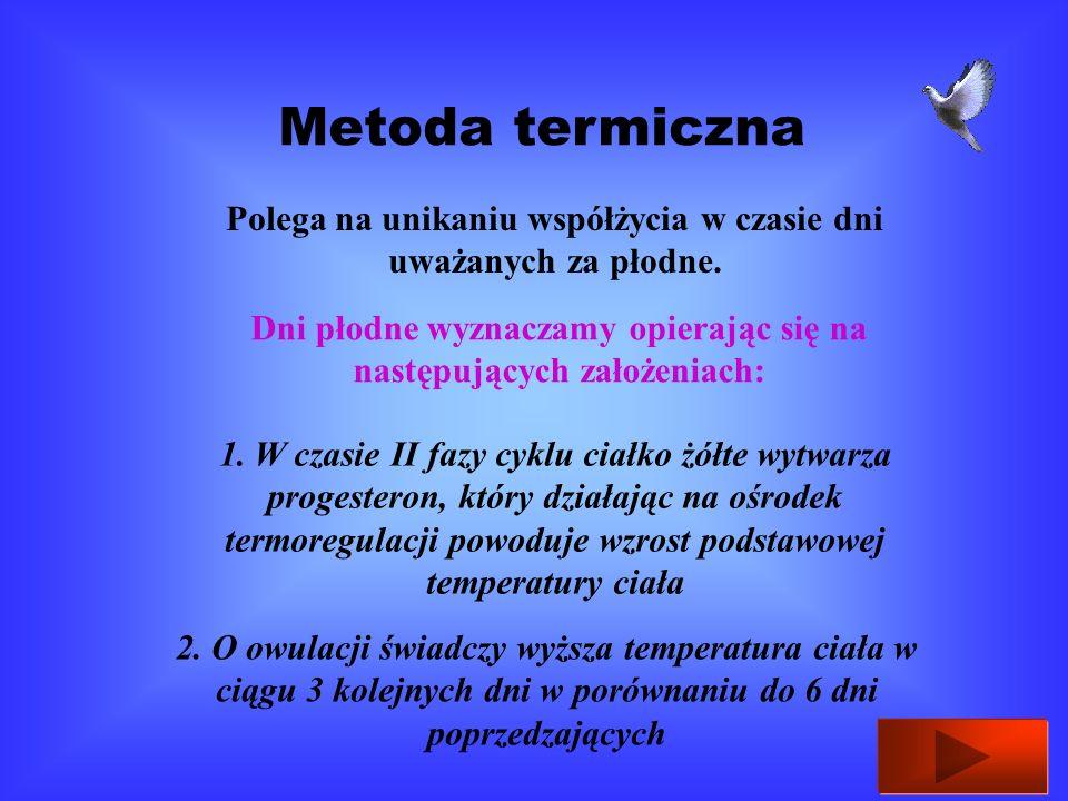 Metoda termiczna Polega na unikaniu współżycia w czasie dni uważanych za płodne. Dni płodne wyznaczamy opierając się na następujących założeniach: