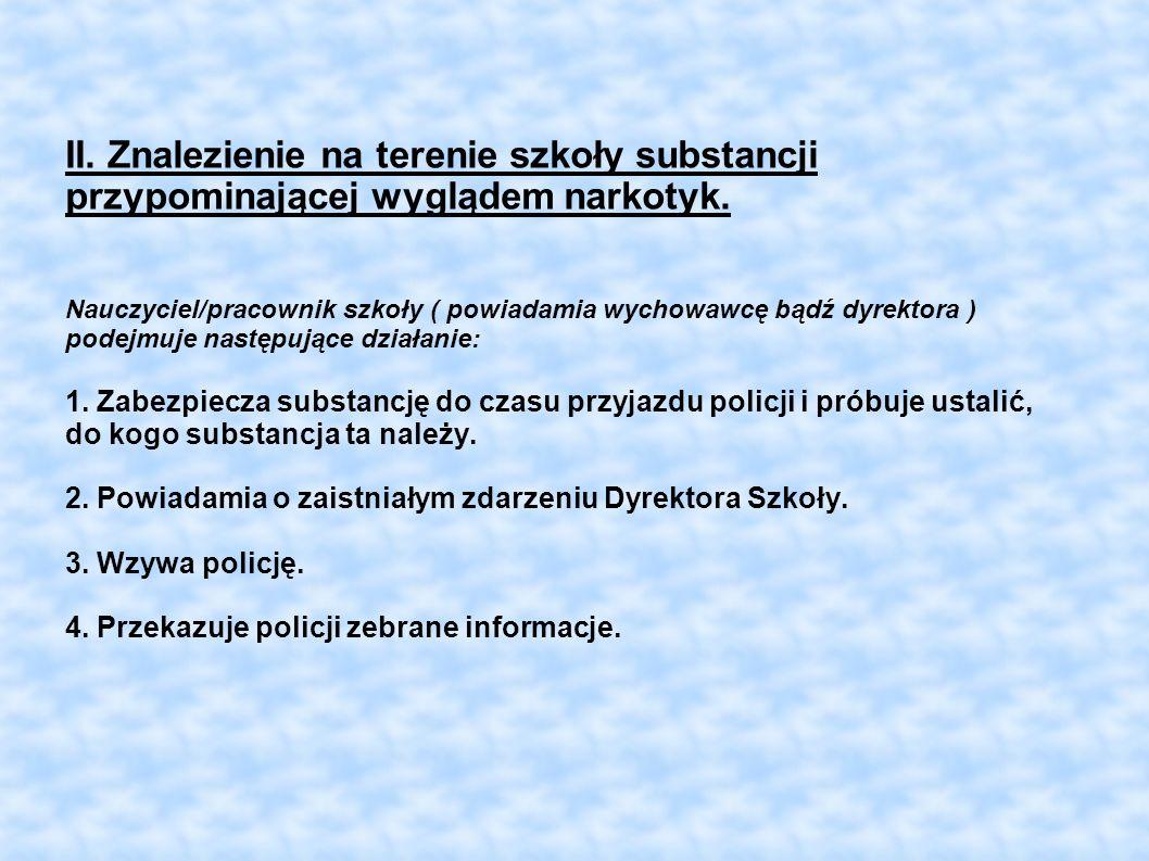 II. Znalezienie na terenie szkoły substancji przypominającej wyglądem narkotyk.