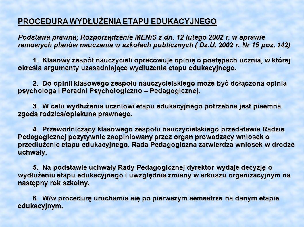 PROCEDURA WYDŁUŻENIA ETAPU EDUKACYJNEGO Podstawa prawna; Rozporządzenie MENiS z dn.