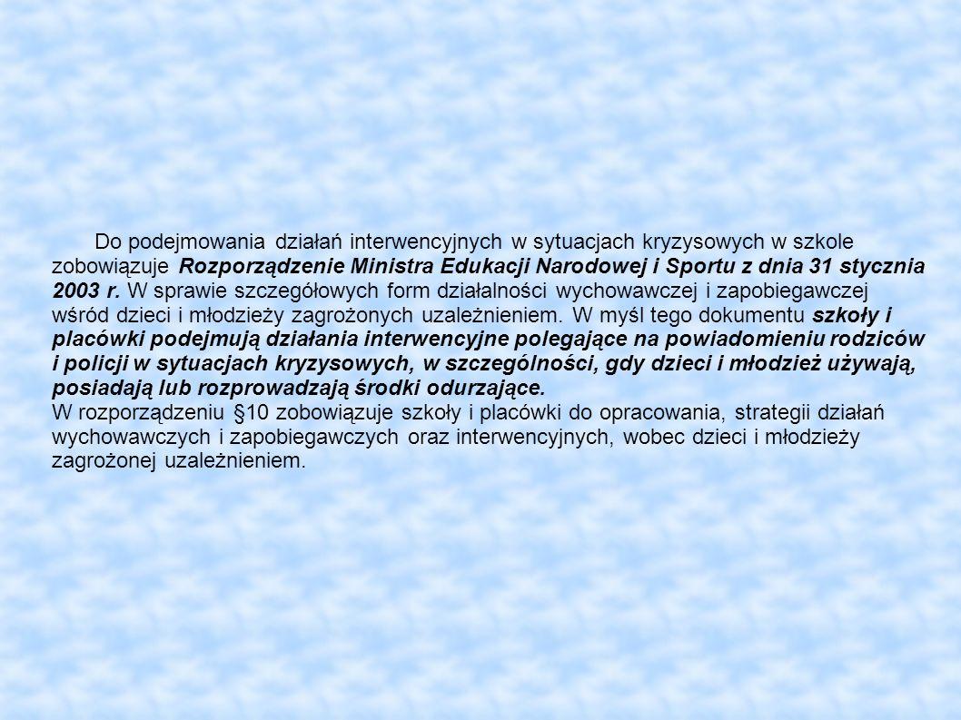 Do podejmowania działań interwencyjnych w sytuacjach kryzysowych w szkole zobowiązuje Rozporządzenie Ministra Edukacji Narodowej i Sportu z dnia 31 stycznia 2003 r.