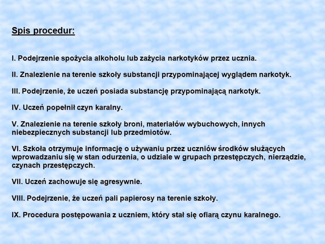 Spis procedur: I. Podejrzenie spożycia alkoholu lub zażycia narkotyków przez ucznia.