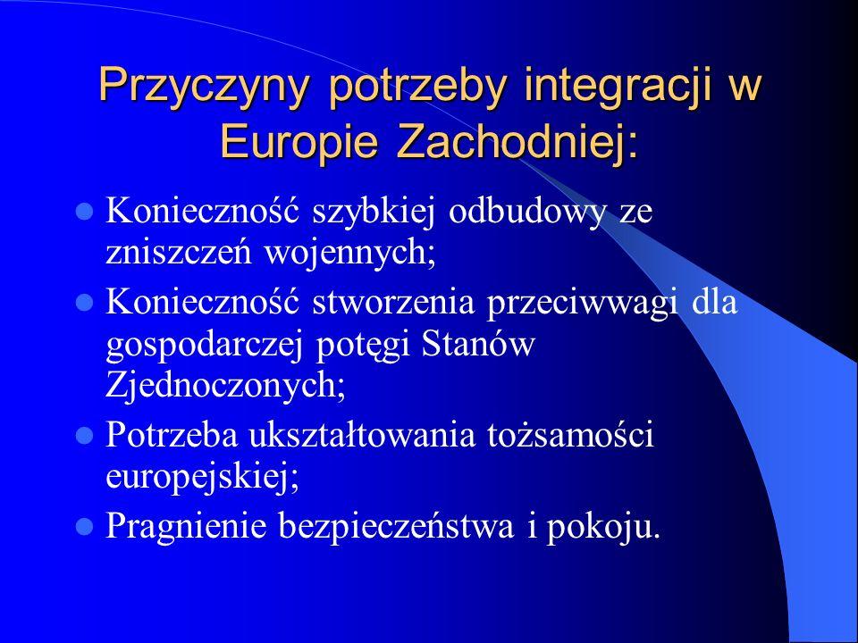 Przyczyny potrzeby integracji w Europie Zachodniej: