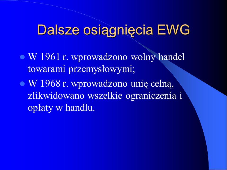 Dalsze osiągnięcia EWG