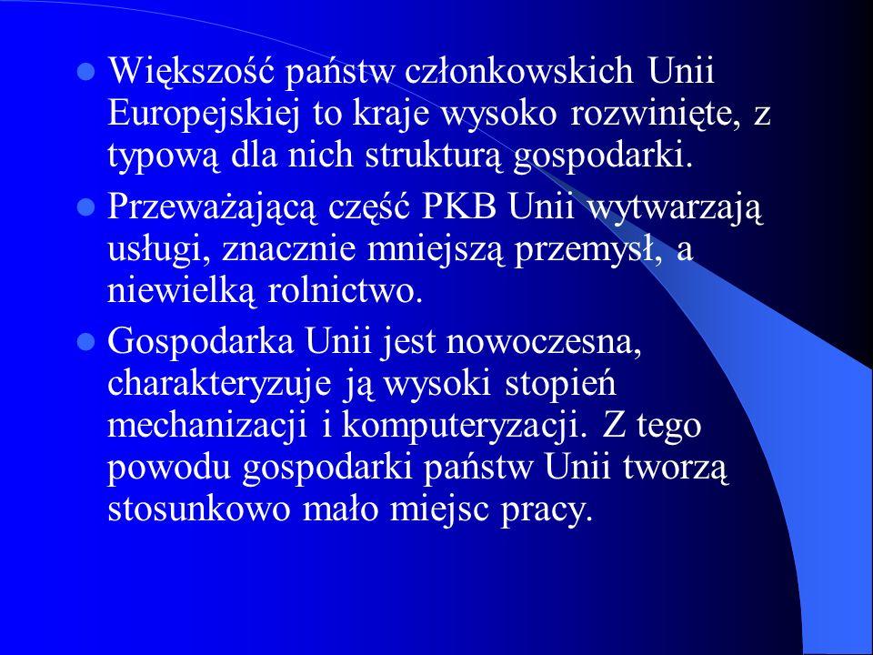 Większość państw członkowskich Unii Europejskiej to kraje wysoko rozwinięte, z typową dla nich strukturą gospodarki.