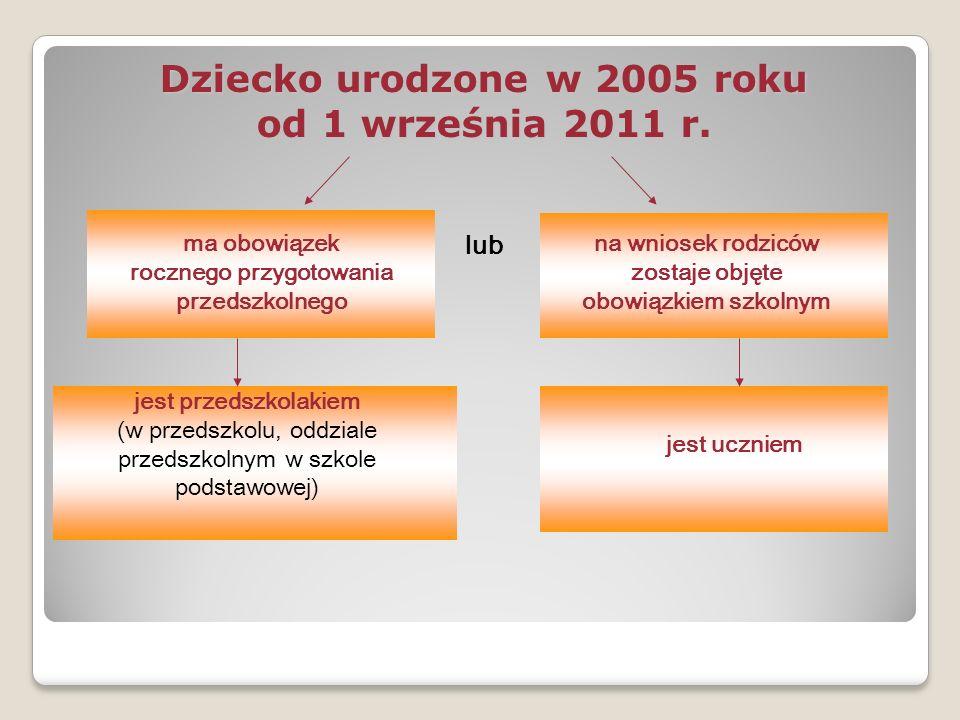 Dziecko urodzone w 2005 roku od 1 września 2011 r.