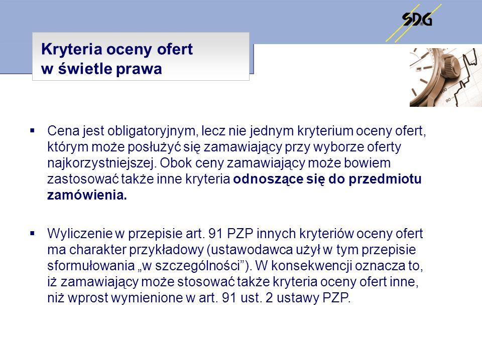 Kryteria oceny ofert w świetle prawa
