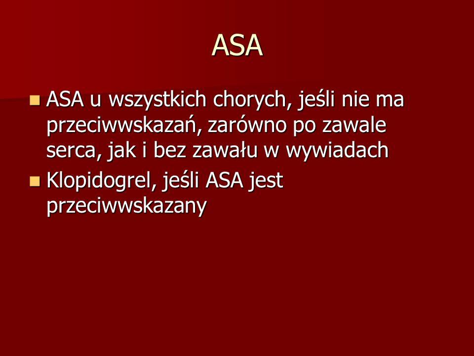 ASA ASA u wszystkich chorych, jeśli nie ma przeciwwskazań, zarówno po zawale serca, jak i bez zawału w wywiadach.