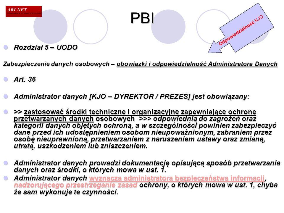 PBI Odpowiedzialność KJO. Rozdział 5 – UODO. Zabezpieczenie danych osobowych – obowiązki i odpowiedzialność Administratora Danych.
