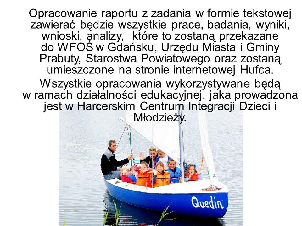 Opracowanie raportu z zadania w formie tekstowej zawierać będzie wszystkie prace, badania, wyniki, wnioski, analizy, które to zostaną przekazane do WFOŚ w Gdańsku, Urzędu Miasta i Gminy Prabuty, Starostwa Powiatowego oraz zostaną umieszczone na stronie internetowej Hufca.