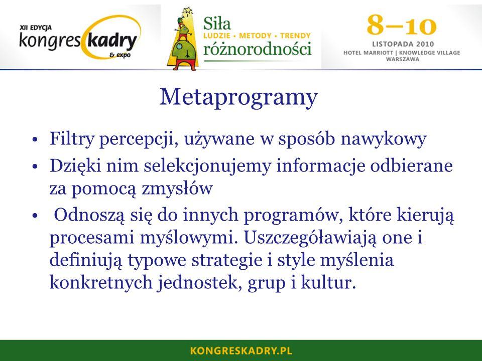 Metaprogramy Filtry percepcji, używane w sposób nawykowy