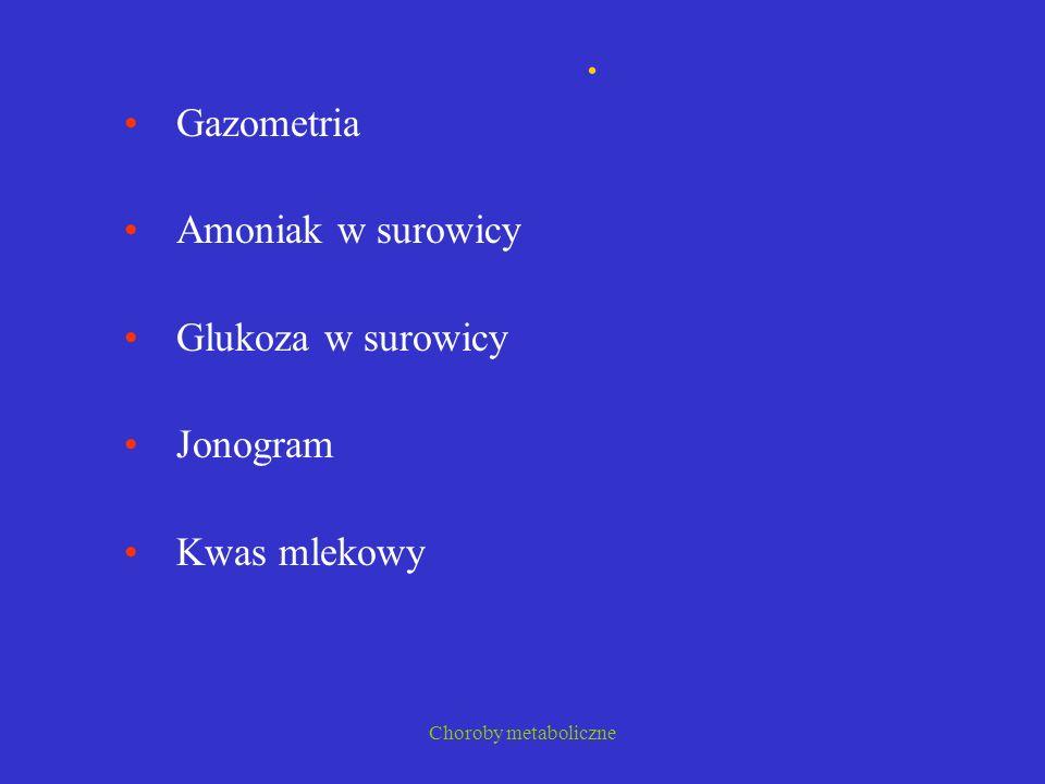 . Gazometria Amoniak w surowicy Glukoza w surowicy Jonogram