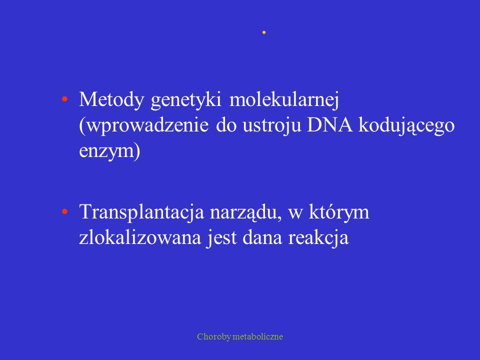 . Metody genetyki molekularnej (wprowadzenie do ustroju DNA kodującego enzym) Transplantacja narządu, w którym zlokalizowana jest dana reakcja.