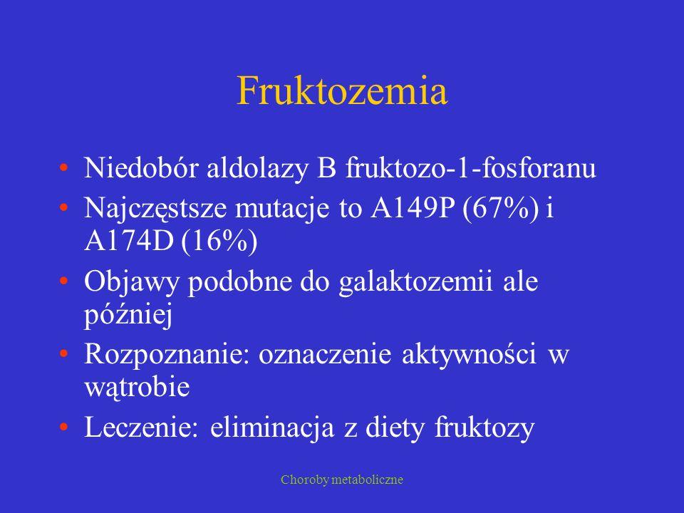 Fruktozemia Niedobór aldolazy B fruktozo-1-fosforanu