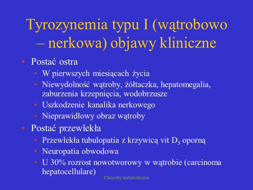Tyrozynemia typu I (wątrobowo – nerkowa) objawy kliniczne
