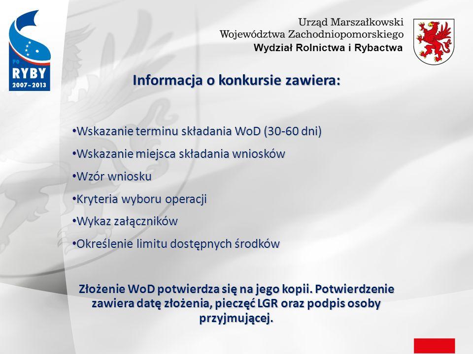 Informacja o konkursie zawiera: