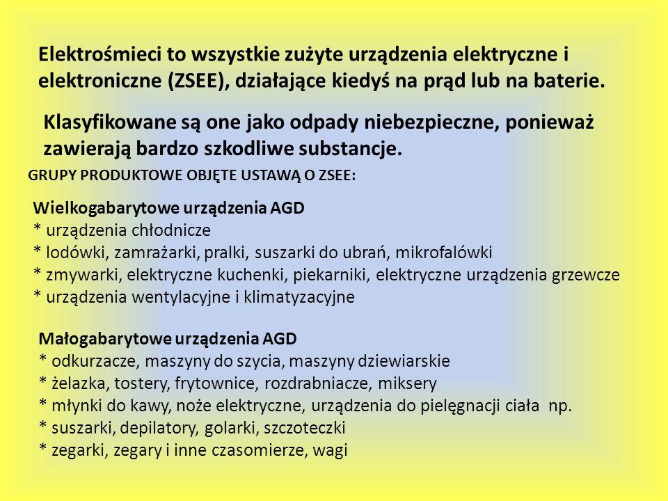 Elektrośmieci to wszystkie zużyte urządzenia elektryczne i elektroniczne (ZSEE), działające kiedyś na prąd lub na baterie.
