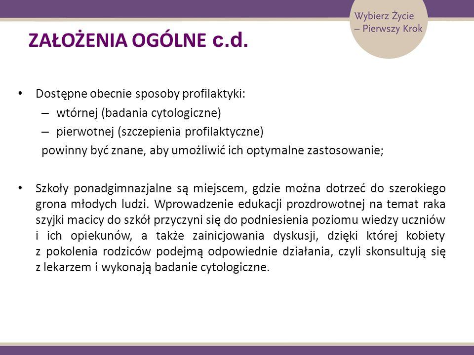 ZAŁOŻENIA OGÓLNE c.d. Dostępne obecnie sposoby profilaktyki:
