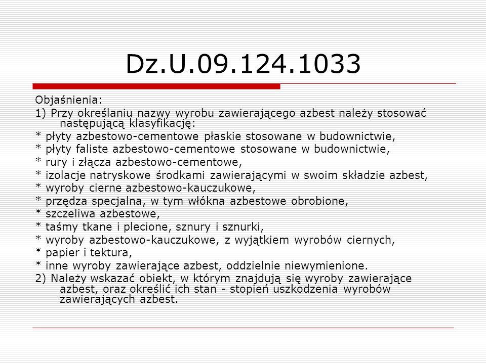 Dz.U.09.124.1033 Objaśnienia: 1) Przy określaniu nazwy wyrobu zawierającego azbest należy stosować następującą klasyfikację:
