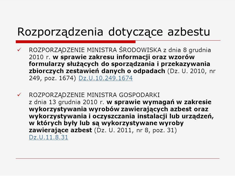 Rozporządzenia dotyczące azbestu