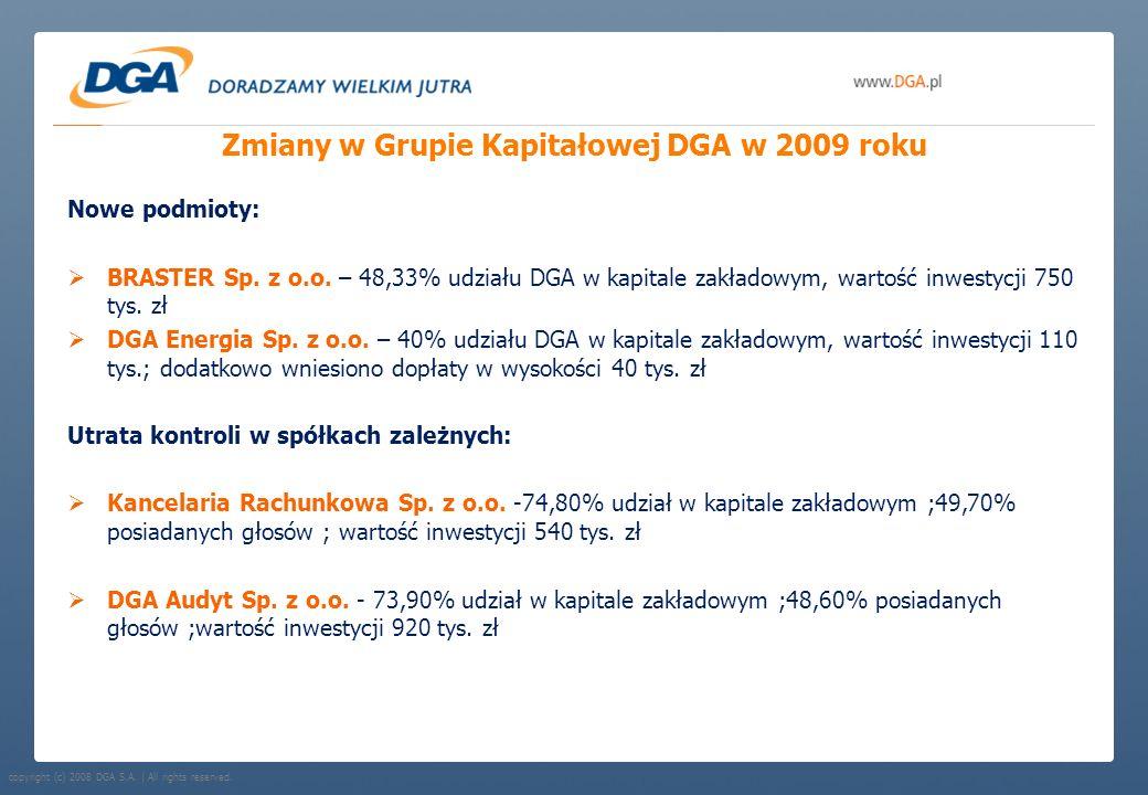 Zmiany w Grupie Kapitałowej DGA w 2009 roku