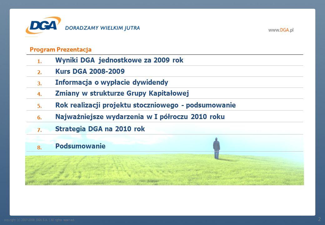 Wyniki DGA jednostkowe za 2009 rok Kurs DGA 2008-2009