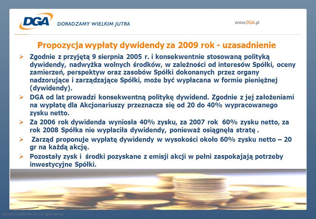 Propozycja wypłaty dywidendy za 2009 rok - uzasadnienie