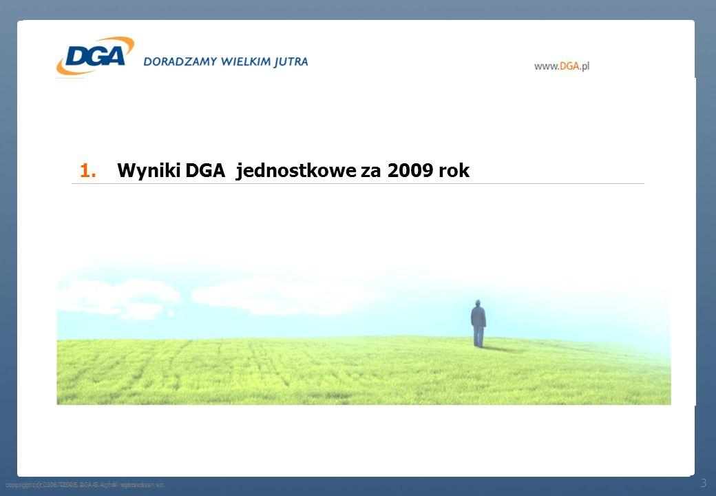 Wyniki DGA jednostkowe za 2009 rok