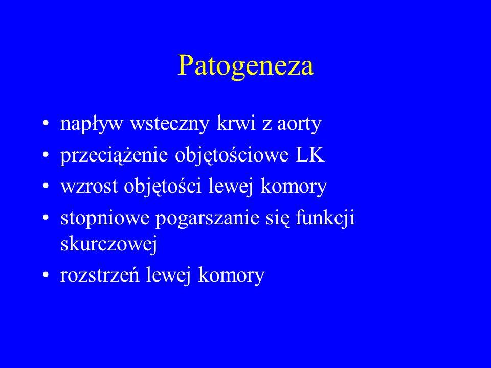 Patogeneza napływ wsteczny krwi z aorty przeciążenie objętościowe LK