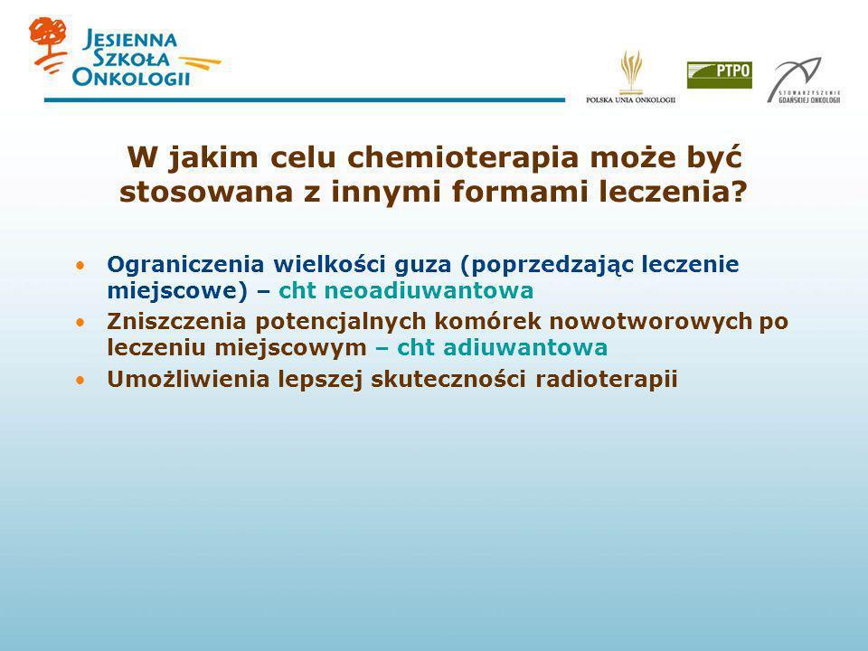 W jakim celu chemioterapia może być stosowana z innymi formami leczenia