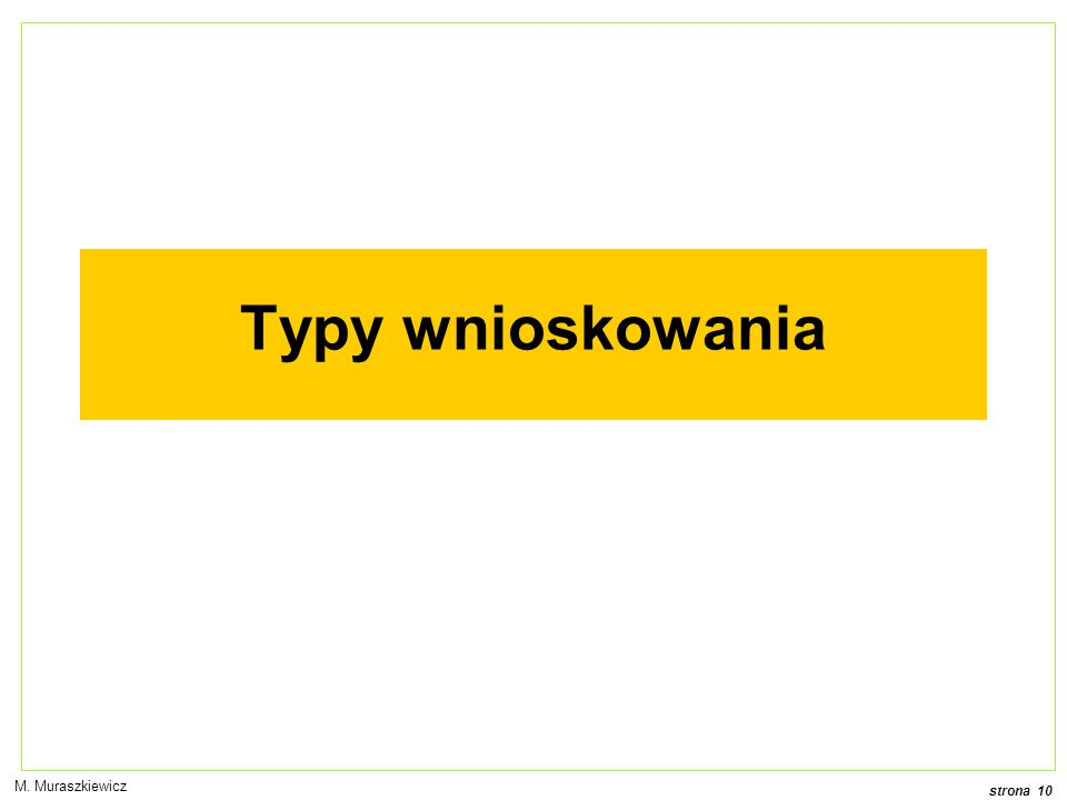 Typy wnioskowania M. Muraszkiewicz