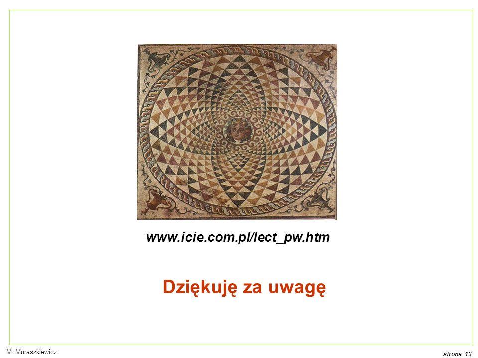 www.icie.com.pl/lect_pw.htm Dziękuję za uwagę M. Muraszkiewicz