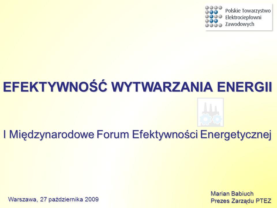 EFEKTYWNOŚĆ WYTWARZANIA ENERGII I Międzynarodowe Forum Efektywności Energetycznej