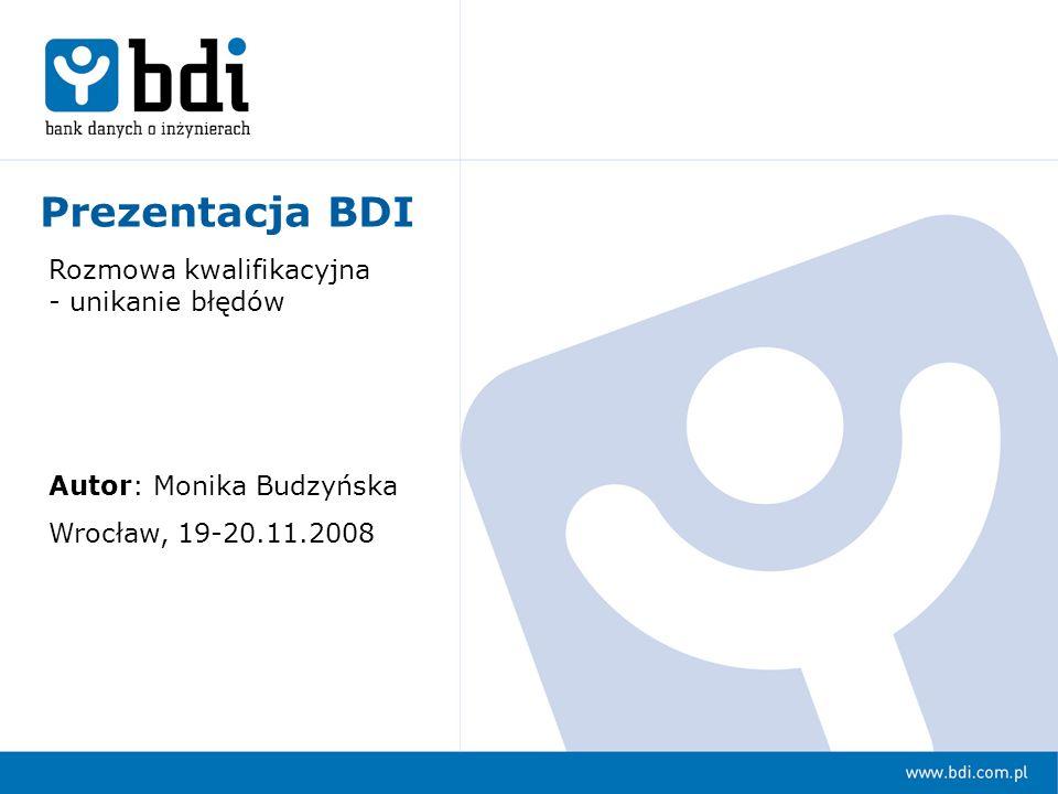 Prezentacja BDI Rozmowa kwalifikacyjna - unikanie błędów