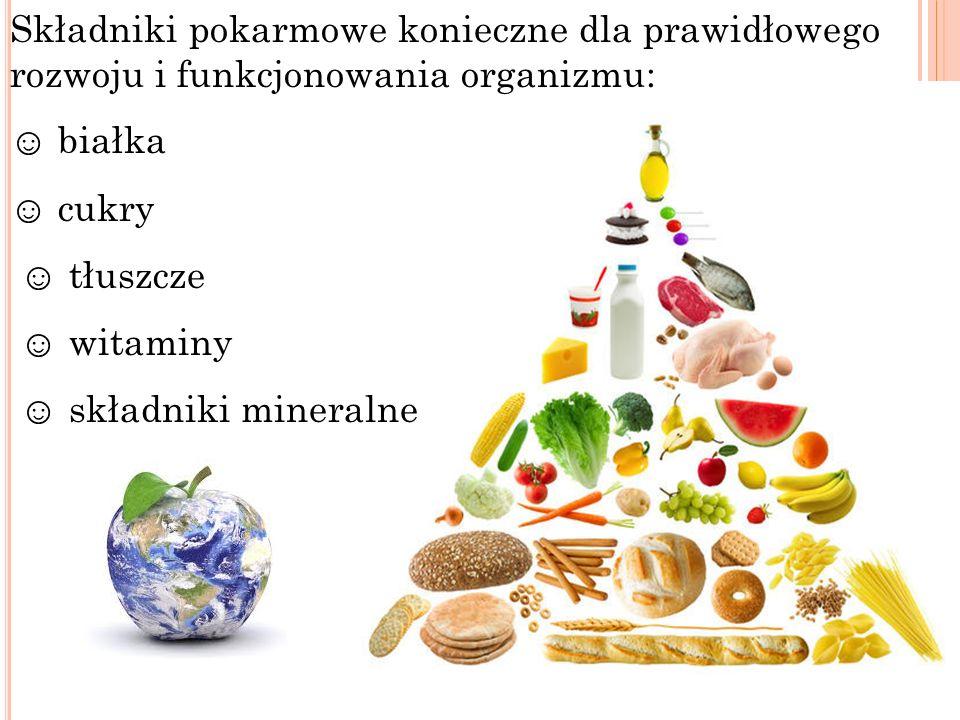 Składniki pokarmowe konieczne dla prawidłowego rozwoju i funkcjonowania organizmu: